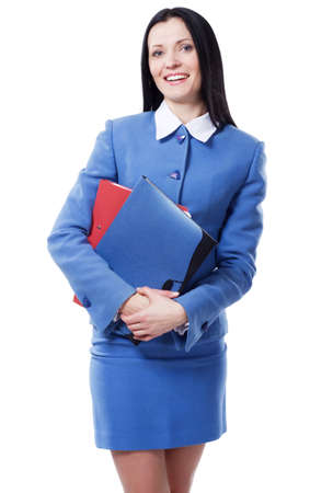 Portrait of a lovely businesswoman against white background photo
