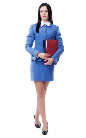 Beautiful businesswoman in blue suit with folders and documents photo