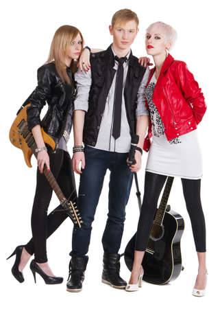 red leather: Teenage rock band against white background Stock Photo
