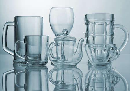 Set of different glass dishes photo