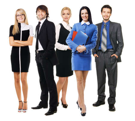 Group of young business people, isolated on white photo