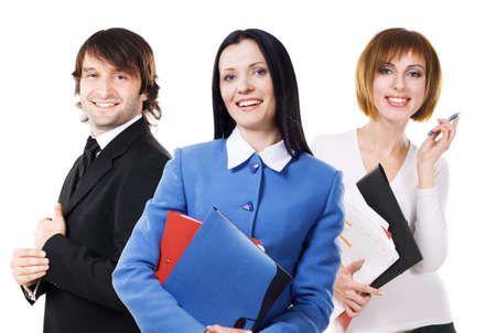 Group of young business people against white background photo