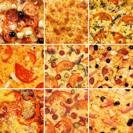 Set of different pizzas photo