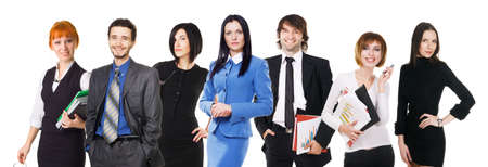 Group of young business people on white background photo