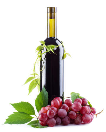 wine grapes: Bottle of red wine with grapes, white background