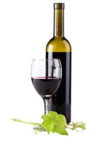 Bottle of red wine isolated on white background photo