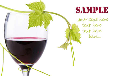 french text: Bottle of red wine isolated on white background