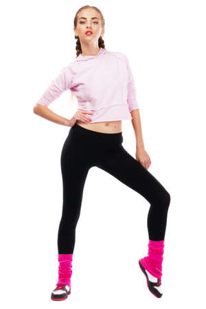 Pretrty lady in sports outfit, white background Stock Photo - 9987455