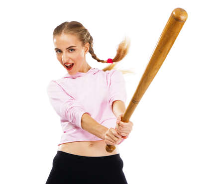 Pretty lady with a baseball bat, isolated on white background Stock Photo - 9987453