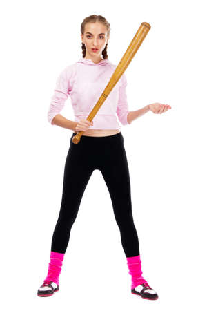 Pretty lady with a baseball bat, isolated on white background Stock Photo - 9987457