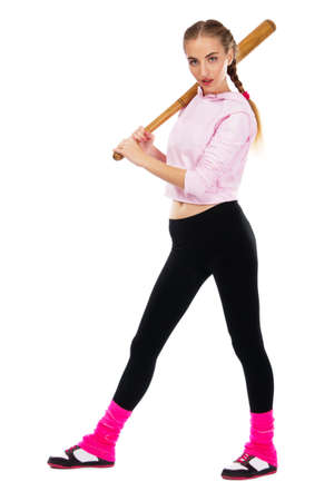Pretty lady with a baseball bat, isolated on white background photo