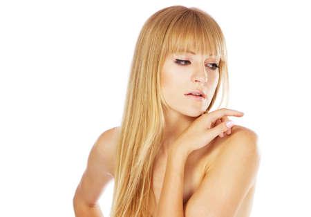 Beautiful lady with perfect skin, studio portrait on white background photo