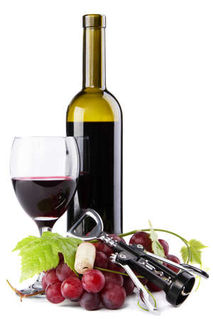 Bottle of red wine with grapes, white background Stock Photo - 10196865