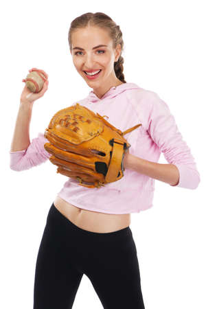 Beautiful woman with baseball equipment, isolated on white background photo