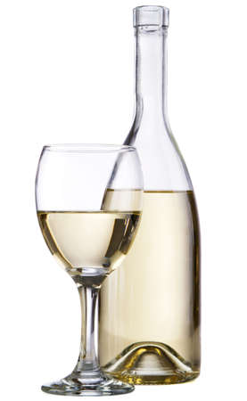 white wine bottle: White wine bottle with a wineglass, isolated on white background