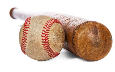 baseball swing: Wooden baseball bat and ball isolated on white background Stock Photo