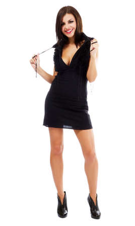 Sexy young woman in black dress, isolated on white background Stock Photo - 10699693