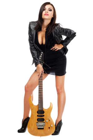 Sexy lady with a guitar, isolated on white background Stock Photo - 10699698