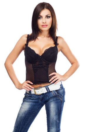 Sexy lady in a corset, isolated on white background Stock Photo - 10699700