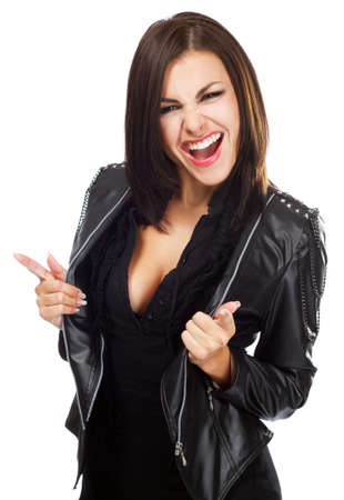 Sexy lady in leather jacket, isolated on white background photo