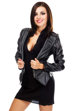 Sexy lady in leather jacket, isolated on white background Stock Photo - 10723448