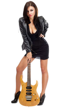 Sexy lady with a guitar, isolated on white background photo
