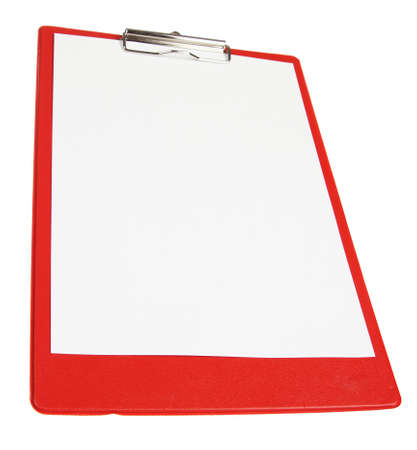 Red paper board isolated on white background photo