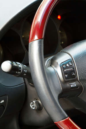 Interior details of a luxury sports car photo