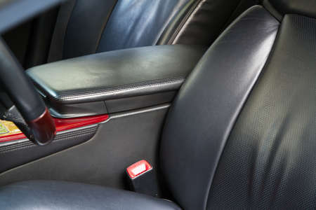back seat: Leather back car seats with active headrest Stock Photo