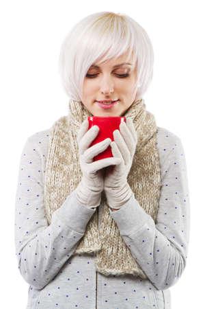 Beautiful lady in warm clothes, studio portrait photo