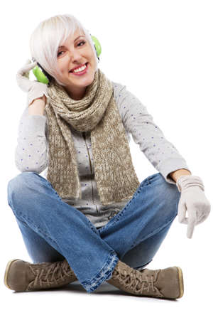 short gloves: Beautiful lady in warm clothes, studio portrait