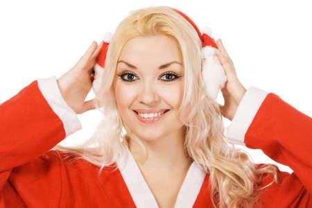 Beautiful woman in santa costume, white background photo