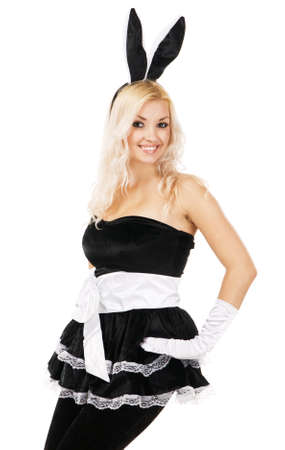 Lovely woman in rabbit costume, white background photo