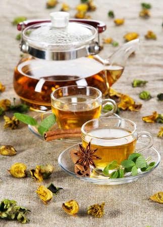 Tea cup with fresh mint leaves, closeup photo photo