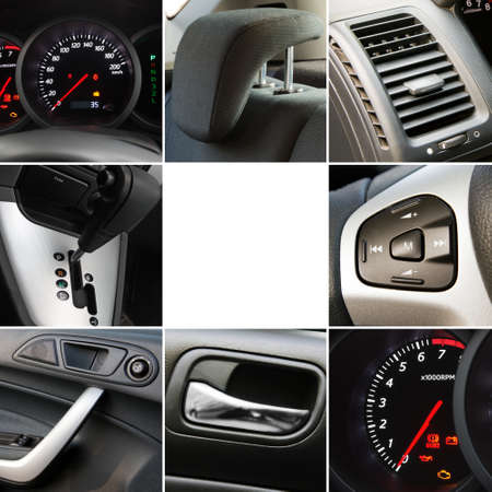 Collage of car interior details closeups photo