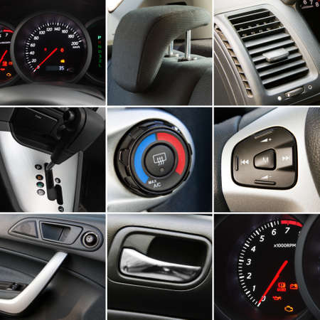Collage of car interior details closeups Фото со стока