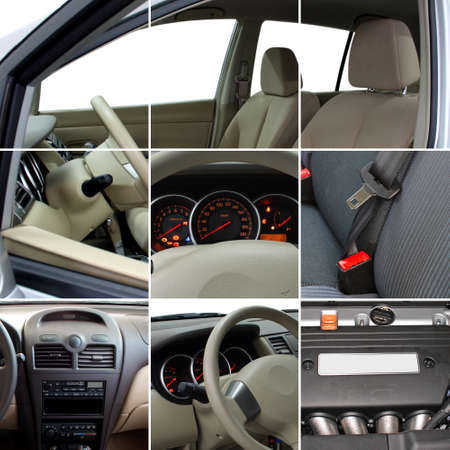 Collage of car interior details closeups Stock Photo
