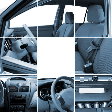 inside technology: Collage of car interior details closeups Stock Photo