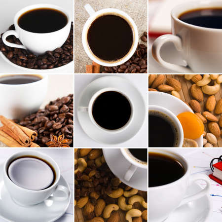 Coffee collage of cups, beans and other details photo