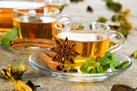 Tea cup with fresh mint leaves, closeup picture Stock Photo - 12395079