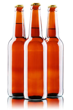 Beer bottles isolated on white background, studio still-life Stock Photo - 12730424