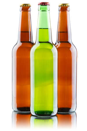 Beer bottles isolated on white background, studio still-life photo