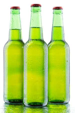 Beer bottles isolated on white background, studio still-life Stock Photo - 12730423