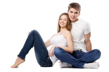 Young beautiful couple isolated on white background Stock Photo - 12730547