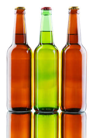 Beer bottles isolated on white background, studio still-life Stock Photo - 12730692