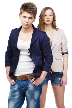 Young beautiful couple isolated on white background Stock Photo - 12909341