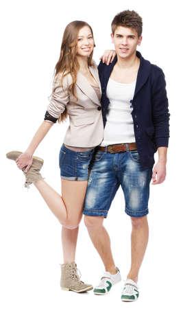 Young beautiful couple isolated on white background Stock Photo - 12909292