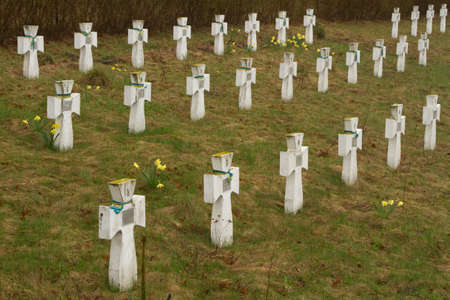 Old military cemetery in eastern Ukraine photo