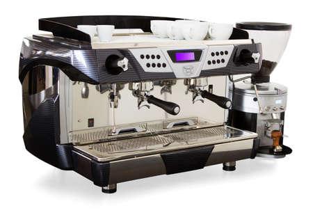 Professionele koffiemachine close-up met selectieve focus Stockfoto