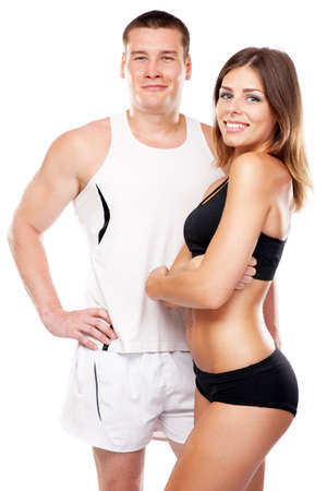 fit couple: Beautiful healthy-looking young couple in sports outfit